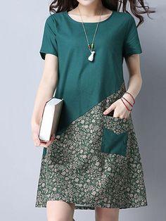 Vintage Mulheres O-pescoço bolso Floral Patchwork Loose Dresses - Banggood Móvel