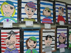 Pirate Portraits by dogboneart, via Flickr- I did a version of these with my class and they look great!
