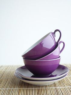 I love the elegance of traditional coffee cups with saucers. This purple set is super cute.