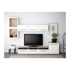 BESTÅ Combinaison rangt TV/vitrines - motif noyer teinté gris/Marviken blanc verre transparent, glissière tiroir, fermeture silence - IKEA