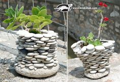 pebble pots....we'll be making these as part of our upcoming fairy garden! ;) LOVE!