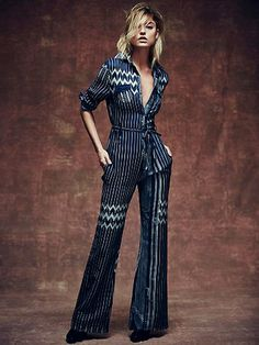 878c6d8a6b2 Free People Chrysler Jumpsuit All the Chevron I need.for my inner mechanic