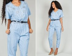 Vtg 80s 90s Blue Chambray Denim Jumpsuit by #elahawkevintage #vintage #jumpsuit #chambray #cotton #denim, $75.00