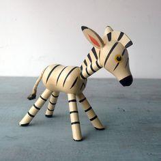 A cute 1950's Wooden Zebra Toy.