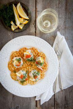 Potato Waffles with Shrimp and Dill