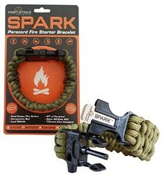 SPARK (TM) Fire Starter Outdoor Survival Paracord Bracelet Army Olive Green with Black Whistle Side Release Buckle Kit with Scraper - Magnesium Fire Steel
