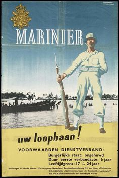 Dutch East Indies, Military Art, Special Forces, Marine Corps, Marines, Vintage Posters, Wwii, Holland, Empire