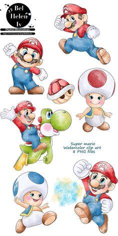 Watercolor Mermaid, Watercolor Animals, Super Mario, Fruits Drawing, Cute Dragons, Bear Cartoon, Animal Nursery, Cool Artwork, Animal Drawings
