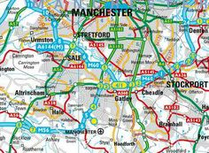 Road planning Manchester Map, Manchester Airport, Driving Route Planner, Altrincham, Northern England, Textile Patterns, Textiles, Work Inspiration, Google Search
