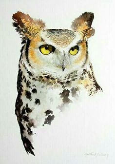 Great Horned Owl Portrait by Morten E Solberg Owl Watercolor, Watercolor Animals, Watercolor Illustration, Watercolor Paintings, Owl Art, Bird Art, Cute Animal Clipart, Great Horned Owl, Wildlife Art
