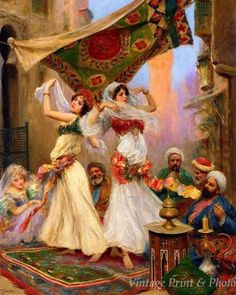 Harem Dancers by Fabio Fabbi Art Arab Girls Perform Men Watch Print 0766 Arabian Art, Art Ancien, Dance Paintings, Classical Art, Italian Artist, Vintage Artwork, Islamic Art, Aesthetic Art, Beautiful Paintings