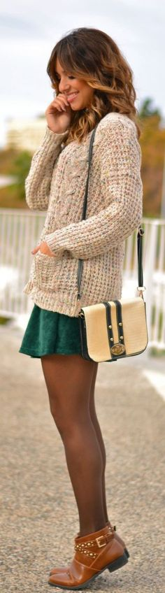 Forrest green with brown tones << Love this sweater! Cozy and Comfy :)