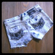 """Jeans shorts with lacing Grey jean shorts with black lacing.  waist 66cm (25"""") Jeans"""