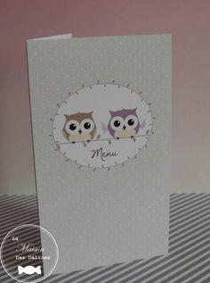 Menu sur le thème du hibou, de la chouette ou des animaux de la forêt. Une collection de marque place et de différentes boîtes à dragées y est associée http://www.maison-des-delices.fr/contenants-a-dragees-mariage-hibou-932