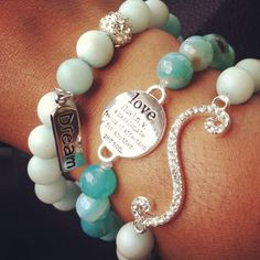 Gemstone bracelet stretchy bracelet Arm Candy Collection Icy Mint by KiKiJabriJewels, $30.00