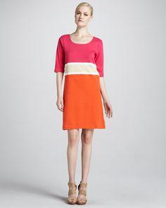 Colorblock Interlock Dress, Women\'s by Joan Vass at Neiman Marcus.