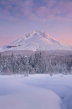 Snow covered mountain - spectacular sunrise!  #snow #winter