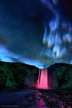 Scenery of waterfall and Aurora Borealis: those colors are just amazing! - Dreamer Island in Secrets Of A Universe: The Mindkey Project. All Nature, Amazing Nature, Beautiful Waterfalls, Beautiful Landscapes, Beautiful Sky, Beautiful World, Cool Pictures, Beautiful Pictures, To Infinity And Beyond