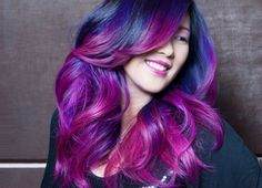 Midnight blue and purple and hot pink hair