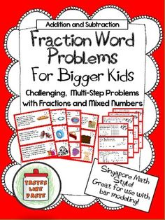 Multi-Step Word Problems (Adding and Subtracting Fractions (Step Challenge Word Problems) Fraction Word Problems, Math Word Problems, Adding And Subtracting Fractions, Math Fractions, Math Charts, Fifth Grade Math, Singapore Math, Math Intervention, Math Words