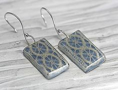 SOMETHING OLD, SOMETHING BLUE......... but of course not only for brides......  Genuine vintage lace (made in italy in the 60s) casted in light blue eco-friendly resin.  The rectangles dangle from curved 925 sterling silver hooks.  Water-resistant and lightweight. Very comfortable to wear !!!!!  Measurements: Total length: 1,8 (4,6 cm) Lace rectangle: 1 x 0,8 (2,5cm x 2cm)  All my items are safely and nicely packed in elegant Villa Sorgenfrei gift boxes.  Item ships from Berlin, Germany…