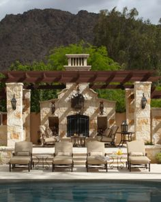 Ideas For Pergola Patio Ideas Spanish Style Outdoor Fireplaces Tuscan Style Homes, Spanish Style Homes, Tuscan House, Spanish House, Spanish Backyard, Italian Home Decor, Rustic Italian, European Home Decor, Style Toscan