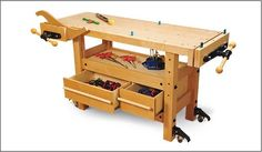 A feature-rich, heavy-duty workbench designed for a modern woodworking style that incorporates both hand tools and portable power tools.