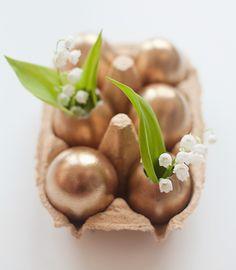 Metallic Easter eggs.