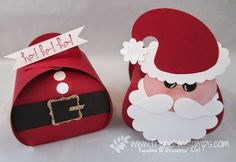 Stamp & Scrap with Frenchie: Punch Art Santa on Curvey Keepsake box