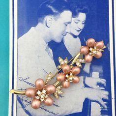 Vintage Nolan Miller Flower and Rhinestone Pin by RetroStarr