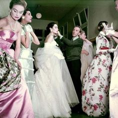Backstage at Jacques Fath 1955 by Walter Carone .....fabulous #style #fashion #couture #hautecouture #paris #glamour #beauty #allure #elegance #model #1950s #beautifulwomen #gowns #vintagefashion #vintageglamour #fabulous