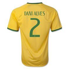 Brazil 2014 DANI ALVES Home Soccer Jersey