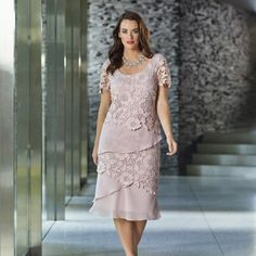 pink-lace-short-sleeves-mother-of-bride-dresses