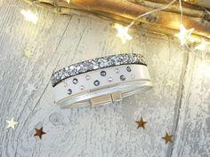 Manchette en cuir véritable et strass blanc et argent : Bracelet par crea-et-toile