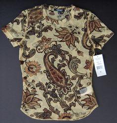 Karen Kane Shirt S Lifestyle Tuscany NWT Brown Black Mesh $46 Short Sleeve Top #KarenKane #KnitTop