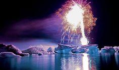 Jökulsárlón Fireworks Show #Iceland