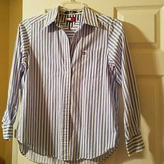 Blue and white striped blouse Long sleeve. Light weight material. Pretty for  spring and summer. Perfect condition. Tommy Hilfiger Tops Button Down Shirts