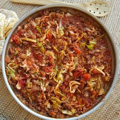 This is one of our SIMPLEST Dinner ideas, yet...and gosh...it's GOOD! Try this one! Serves 4 Ingredients: 1 pound grass-fed ground beef 1 yellow onion, diced 1 small head green cabbage, chopped into strips 2 cloves garlic, minced 1 (14.5-oz) can organic diced tomatoes, including juice (you could...