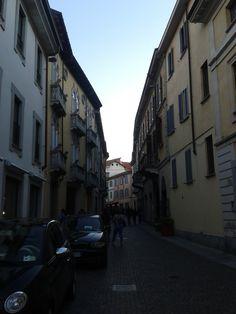 Stone Houses in narrow street in Vigevano / İtaly