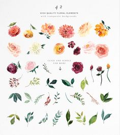 Watercolor Flower Clipart -Paprika by Twigs and Twine on @creativemarket Watercolor Flower Clipart - Paprika. This set of floral elements and design assets is created in a gorgeous palette of burgundy, gold, coral, blush and leafy greens. It works beautifully with gold foil accents. It would work perfectly for wedding stationery, with a rustic style, or for many other design projects including wall art, logo design, branding and marketing material etc. You can use the separate elements to…