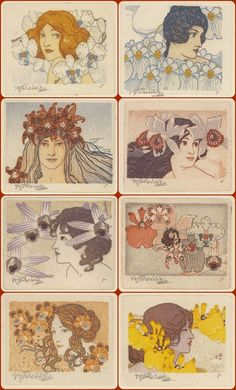 "Etchings from the ""Seven Orchids"" series by Czech artist Vojtěch Preissig, Art Nouveau, Moving To Paris, Alphonse Mucha, Etchings, Belle Epoque, Swirls, Printmaking, Orchids, Decoupage"