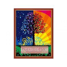 Раскраска по номерам Menglei «Дерево счастья». Купить за 1320 р. в магазине Разукрашка.