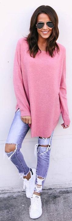 #fall #outfits pink sweater ripped jeans