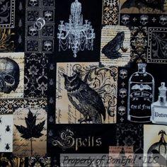 BonEful-Fabric-FQ-Cotton-Quilt-Black-Brown-Gray-Lg-Skull-Magic-Frog-Owl-Bird-Bat