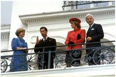 November 2 1987 Charles and Diana and Richard von Weizsaecker, Federal President of Germany (r) and his wife Marianne (l) in front of the Villa Hammerschmidt visiting Bonn, Germany  (Presidential Palace)