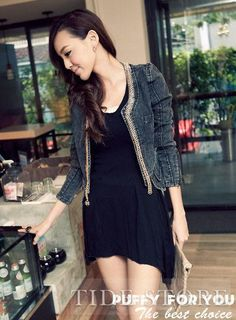 Shop Korean Style Vintage Style Jacket on sale at Tidestore with trendy design and good price. Come and find more fashion Denim Jackets here. Leather Jackets Online, Jackets For Women, Clothes For Women, Cheap Jackets, Ladies Jackets, Denim Jacket Fashion, Sammy Dress, Outerwear Women, Vintage Jacket