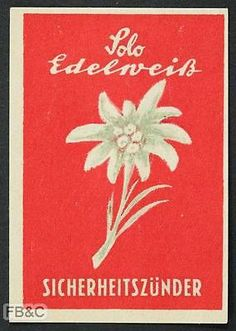 Vintage Matchbox Label - Edelweiss - Red - Germany