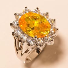 Yellow Sapphire, White Topaz 925 Sterling Silver Jewelry Ring 7