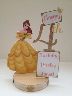 Beauty and the Beast Belle Custom Birthday Party Centerpiece Beauty And Beast Birthday, Beauty And The Beast Theme, Disney Beauty And The Beast, Princess Belle Party, Princess Birthday, 3rd Birthday Parties, 4th Birthday, Birthday Ideas, Birthday Party Centerpieces