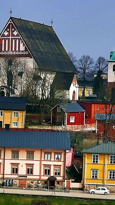 Porvoo - Finland the church up in the hill is from y. 1233, and has burned down many times, latest was summer 2009. Red barns and old houses tell story of maritime merchandy, and hard times at those little seashore town during the centuries.